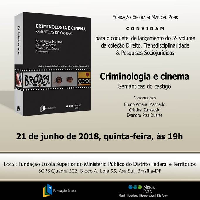No dia 14 de junho será lançado o livro Criminologia e Cinema: Semânticas do Castigo.   Haverá uma noite de autógrafos na Fundação Escola do Ministério Público do Distrito Federal e Territórios, a partir das 19:30.